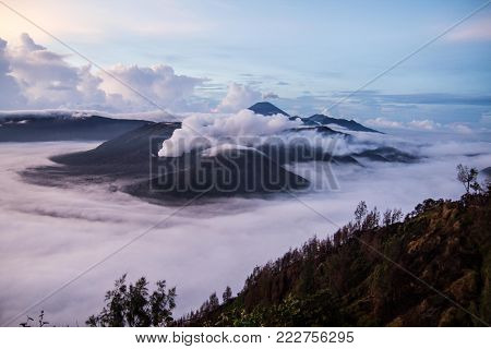 Sunrise over Bromo-Tengger National Park located in East Java, Indonesia
