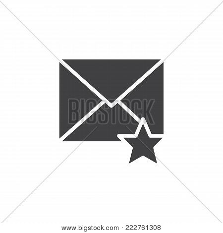 Favorite email icon vector, filled flat sign, solid pictogram isolated on white. Envelope and star symbol, logo illustration.