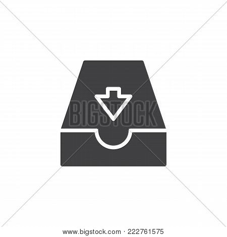 Incoming mailbox icon vector, filled flat sign, solid pictogram isolated on white. Email Inbox symbol, logo illustration.