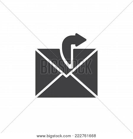 Sending email icon vector, filled flat sign, solid pictogram isolated on white. Outgoing mail symbol, logo illustration.