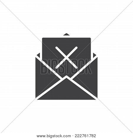 Mail delete icon vector, filled flat sign, solid pictogram isolated on white. Remove email envelope symbol, logo illustration.