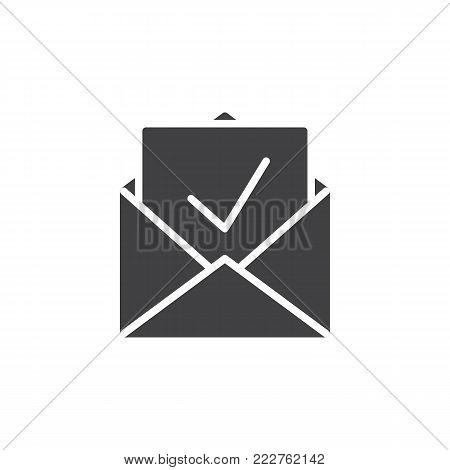 Inbox, receive mail icon vector, filled flat sign, solid pictogram isolated on white. Newsletter in envelope symbol, logo illustration.