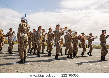 Paphos, Cyprus - January 30, 2015 - Young Cypriot soldiers orchestra on a military Oath day in army.