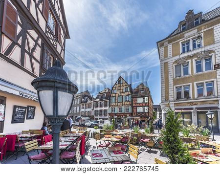 Colmar, France - May 2017: At The Street Café In The Little Venice Quarter