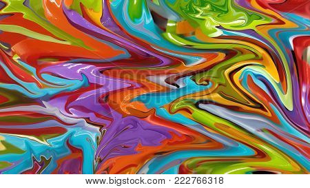 Brightly colored abstract party background background formed of colourful strips of paper or streamers in the colors of the rainbow in a random swirling pattern