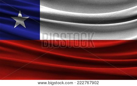 Realistic flag of Chile on the wavy surface of fabric. This flag can be used in design