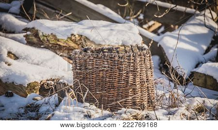 wicker basket made of twigs, rustic, straw