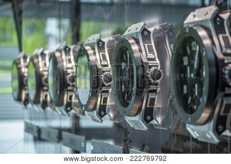 Zurich, Switzerland - May 2017: Watches At The Exposition In The Official Fifa Headquarters
