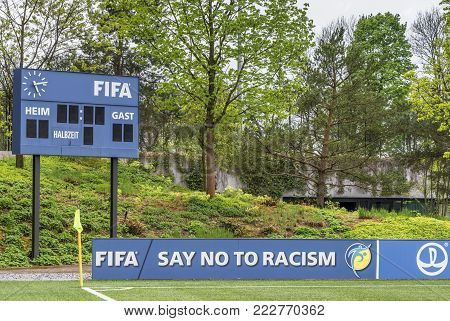 Zurich, Switzerland - May 2017: In The Park Of The Official Fifa Headquarters