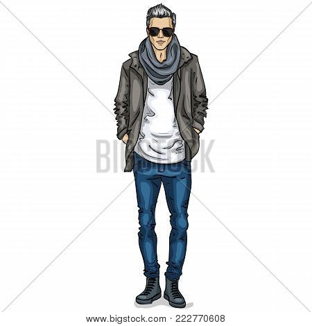 Vector man model dressed in jeans, t-shirt, jacket, sneakers, scarf and sunglasses