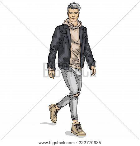 Vector man model dressed in jeans, hoody, jeans jacket and sneakers