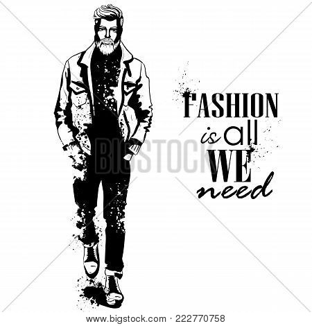 Vector man model dressed in jeans, pullover, jeans jacket, and anb boots, splash stile. Fashion is all we need