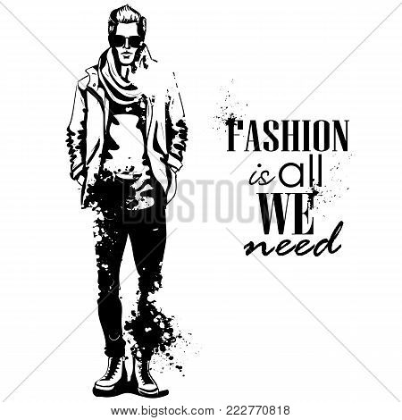 Vector man model dressed in jeans, t-shirt, jacket, sneakers, scarf and sunglasses, splash stile. Fashion is all we need