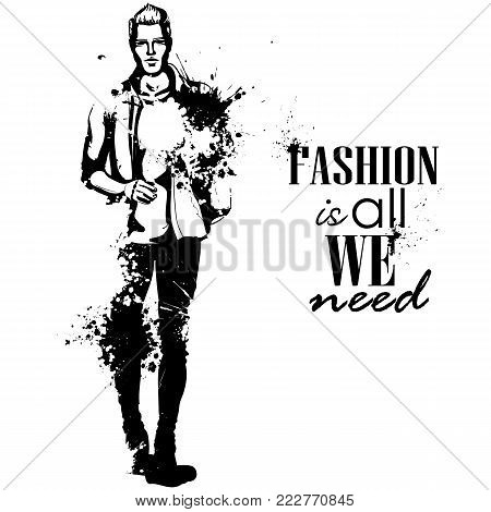 Vector man model dressed in jeans, T-shirt, shirt and shoes, splash stile. Fashion is all we need