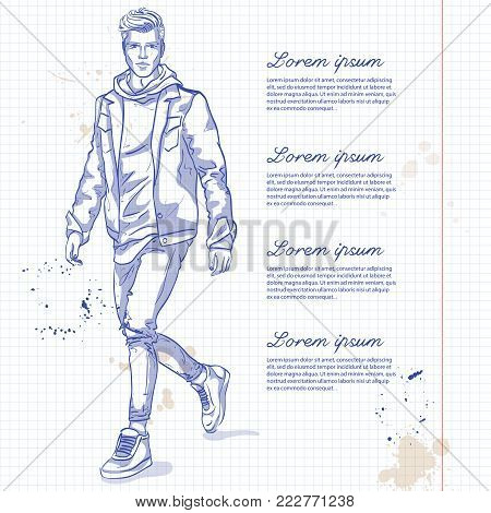 Vector man model dressed in jeans, hoody, jeans jacket and sneakers on a notebook page