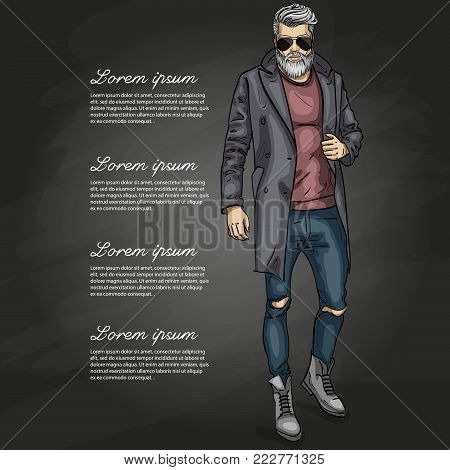 Vector man model dressed in jeans, pullover, coat and boots on a dark background