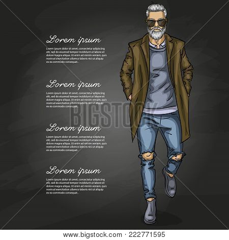 Vector man model dressed in jeans, shirt, pullover, coat anb boots on a dark background