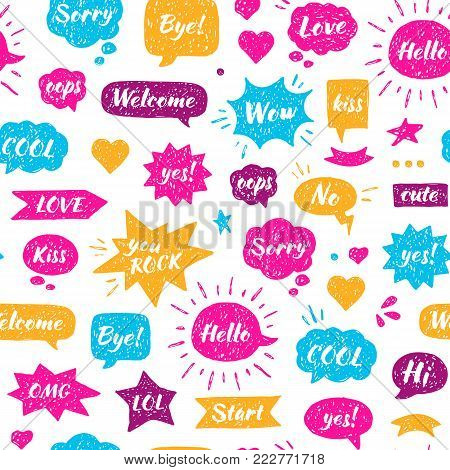 Seamless Hand drawn pattern. Speech bubbles with isolated dialog words Hello, Hi, Sorry, Welcome, Bye, No, Yes