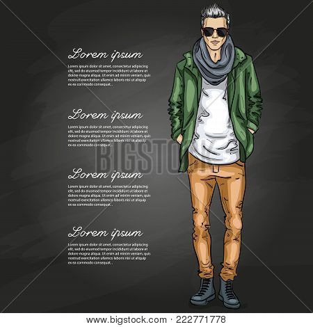 Vector man model dressed in jeans, t-shirt, jacket, sneakers, scarf and sunglasses on a dark background