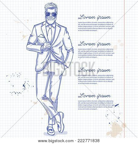 Vector man model dressed in pants, shirt, jacket and loafers on a notebook page