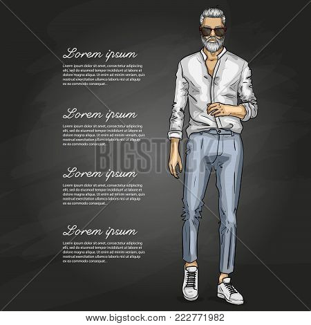Vector man model dressed in pants, shirt, sneakers and suglasses on a dark background