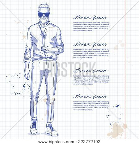 Vector man model dressed in pants, shirt, sneakers and suglasses on a notebook page