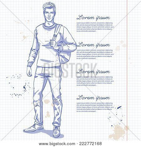 Vector man model dressed in jeans, pullover and shoes with backpack on a notebook page