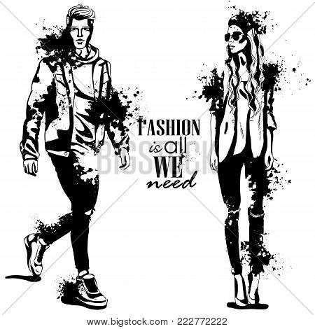 Vector woman and man fashion models, autumn look, stylish outfit, splash stile. Fashion is all we need