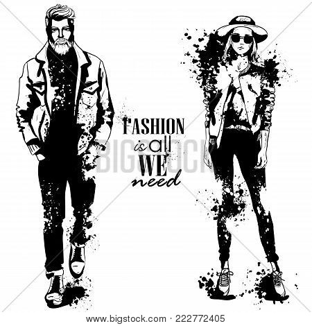 Vector woman and man models dressed in casual style, autumn look, stylish outfit, splash stile. Fashion is all we need