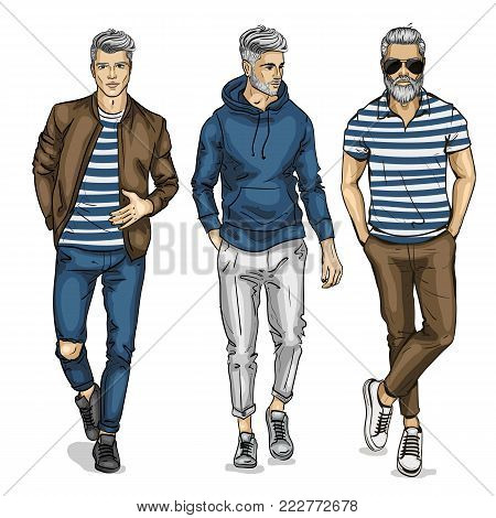 Vector man models dressed in casual style, sketch, spring outfit