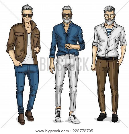 Vector young man models, sketch, spring outfit. Vector illustration EPS 10