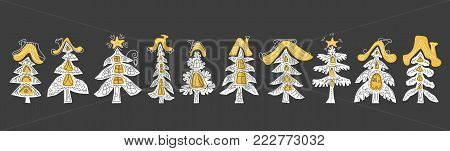 Web banner of winter season Christmas day in forest. Stylized paper christmas tree. Vector art style. Fairy cake house with window, door, roof. Flat collection decorated Illustration of happy new year