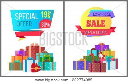 Special offer final low price exclusive sale posters piles of gift boxes wrapped in decorative color paper, topped by bows and ribbons vector banners