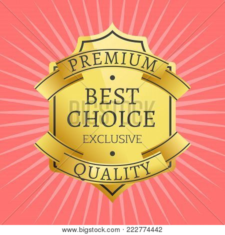 Exclusive premium quality best golden label guarantee sticker award gold ribbons, vector illustration certificate isolated on pink background with rays