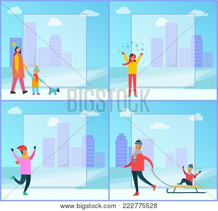 Wintertime posters, family and cityscape, filling form and buildings, clouds and sky, mother and kid walking dog, isolated on vector illustration