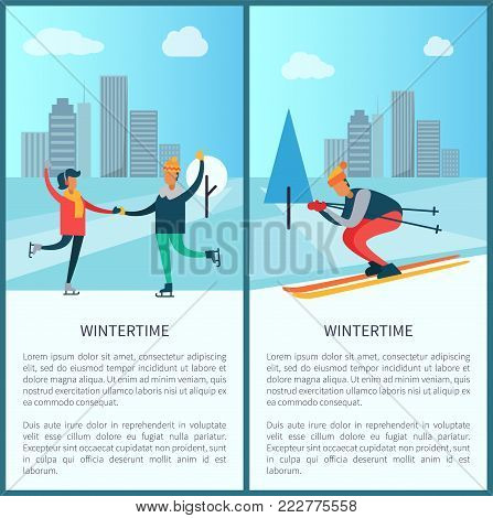 Wintertime set of banners with headline and text sample, skaters and skier, buildings and pine tree, sky and clouds, isolated on vector illustration
