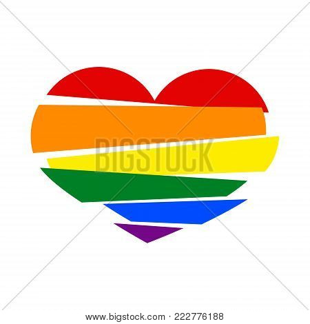 LGBT rainbow pride flag in a shape of Stripes broken heart on white background. Lesbian, gay, bisexual, and transgender 3d paper art heart. Vector illustration. Stock clipart.