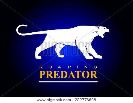 white tiger, puma, panther. Roaring white predator.