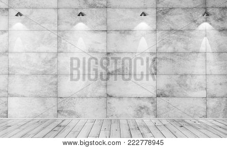 Interior background of a room with concrete tiled wall, beton floor and wall lights 3d rendering