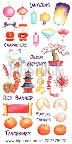Chinese New Year watercolor clipart on white background. Lunar New Year symbol. Handdrawn icon for oriental New Year. Chinese lanterns, lucky knot, red dragon. Red and gold China winter festival decor