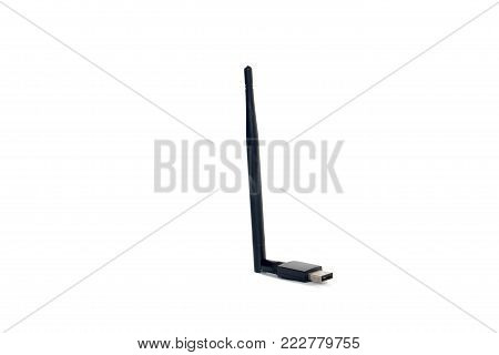 usb wireless with antenna on white background