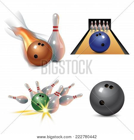 Realistic bowling icon set isolated on white background. Bowling strike with ball. Vector illustration.