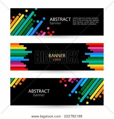 Abstract vector backgrounds for banners. Rainbow line on black background. Color line with bright dots.