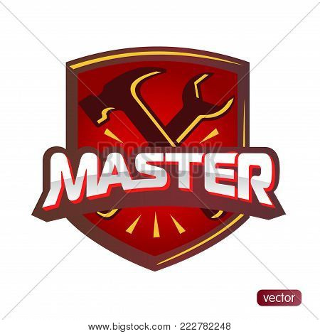 Logo Master lettering Brand symbol service mark. Isolated on white background. Vector illustration - embossed text master, hammer and wrench. For appliance repair, shoes, cars.