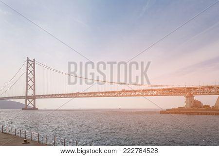 Akashi Kaikyo suspension bridge over seacoast, Japan longest bridge