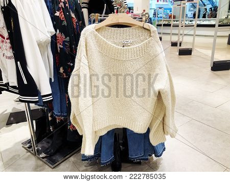 RISHON LE ZION, ISRAEL- JANUARY 12, 2018: Inside the clothing store at  Department Store in Rishon Le Zion, Israel