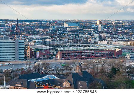 Hamburg Germany - December 16. 2017: Millerntor Stadion is the home stadium of German football team St. Pauli