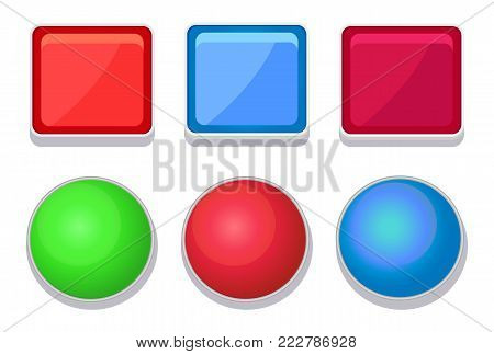 Empty glossy web buttons of square and round shape set of online push-buttons isolated, editable navigation icons vector illustration collection