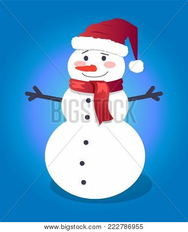 Handsome snowman in red hat and lovely scarf, vector illustration of smiling winter symbol with pretty orange carrot isolated on deep blue background