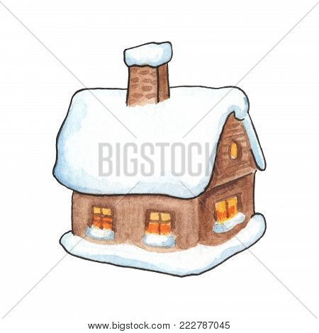 Rustic wood house in snow watercolor illustration. Village house with snow roof and pipe. Cozy winter countryside house. Cute home handdrawn icon. Wooden hut drawing on white background. House clipart